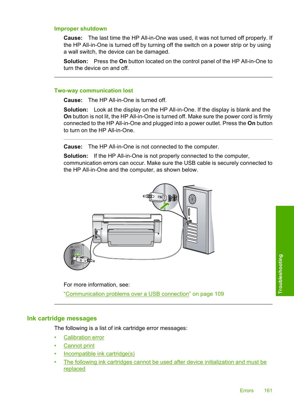 ink cartridge messages improper shutdown two way communication rh manualsdir com hp photosmart c6280 notice hp photosmart c6280 manual pdf