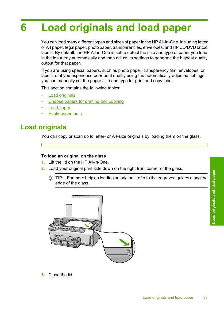 Load originals and load paper, Load originals, 6 load originals and load  paper |