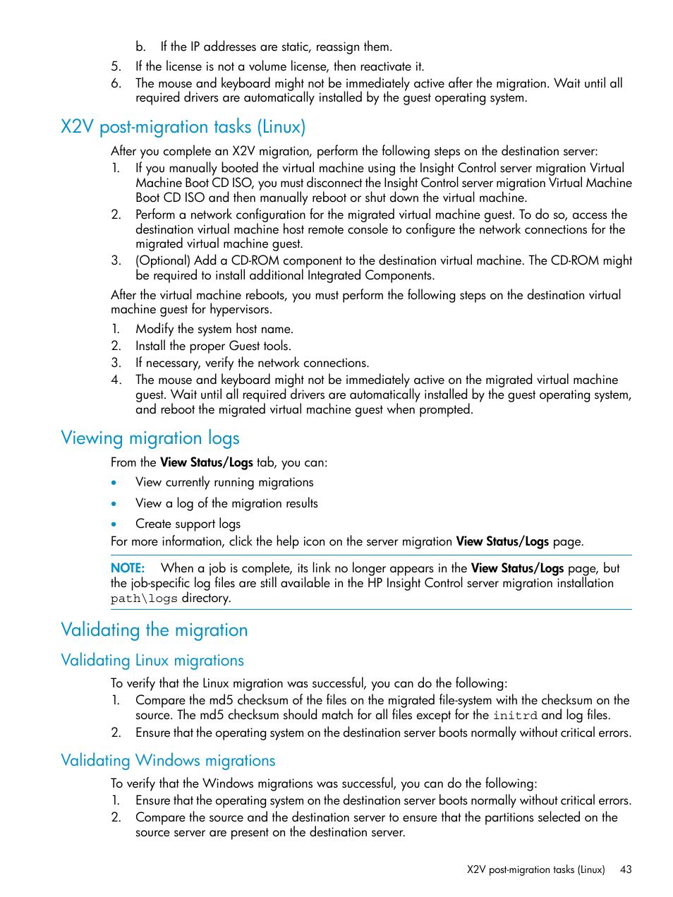 X2v post-migration tasks (linux), Viewing migration logs