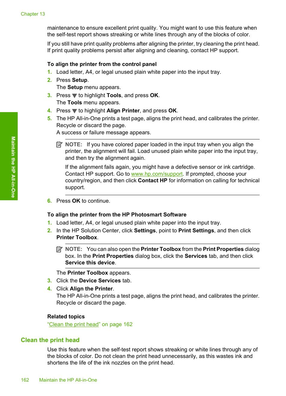 Clean the print head   HP Photosmart C7200 Series User Manual   Page 163 /  309