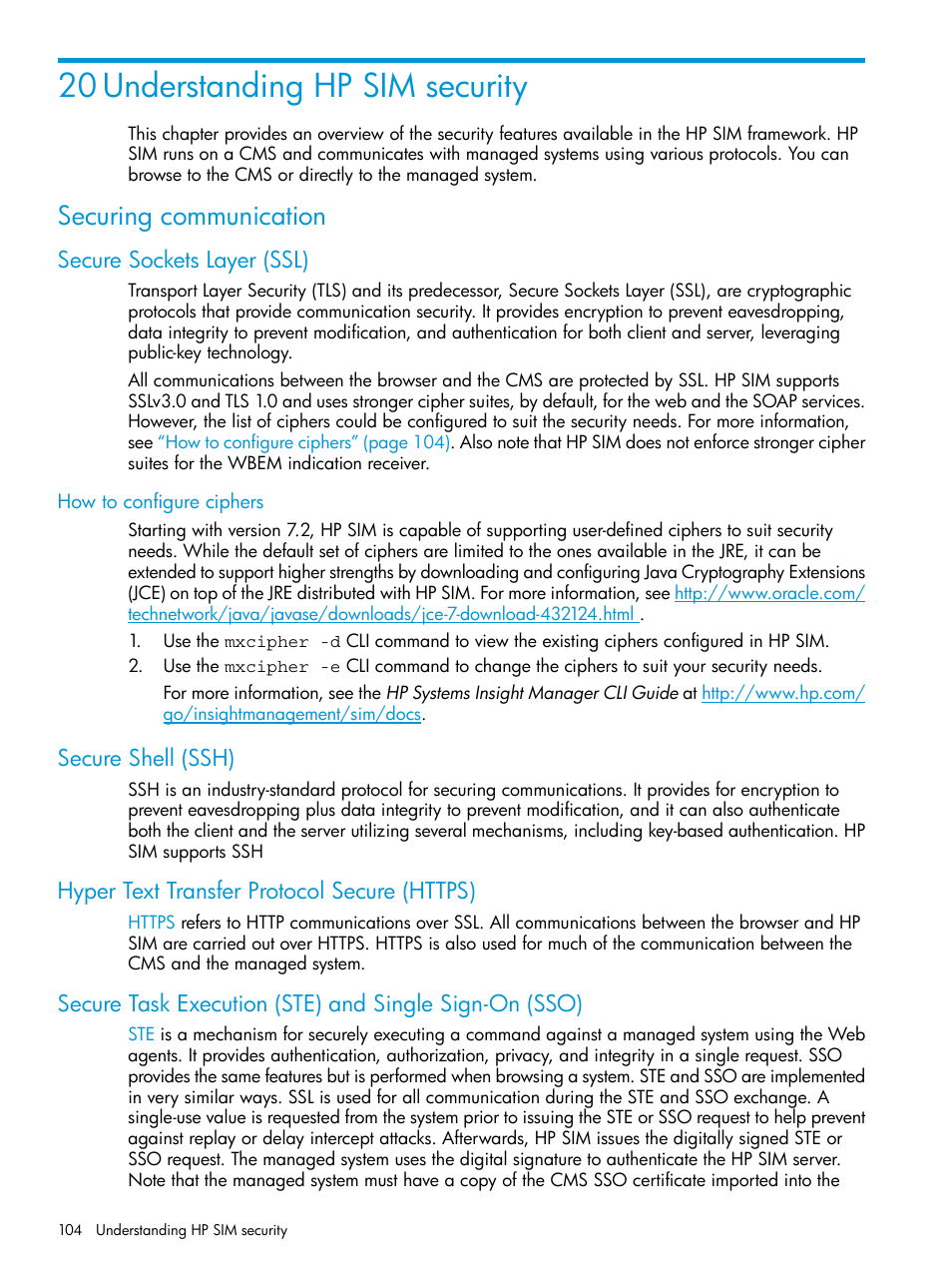 20 understanding hp sim security, Securing communication, Secure