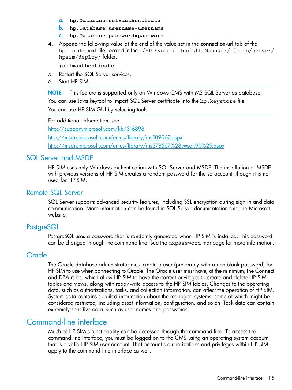 Sql server and msde, Remote sql server, Postgresql | HP
