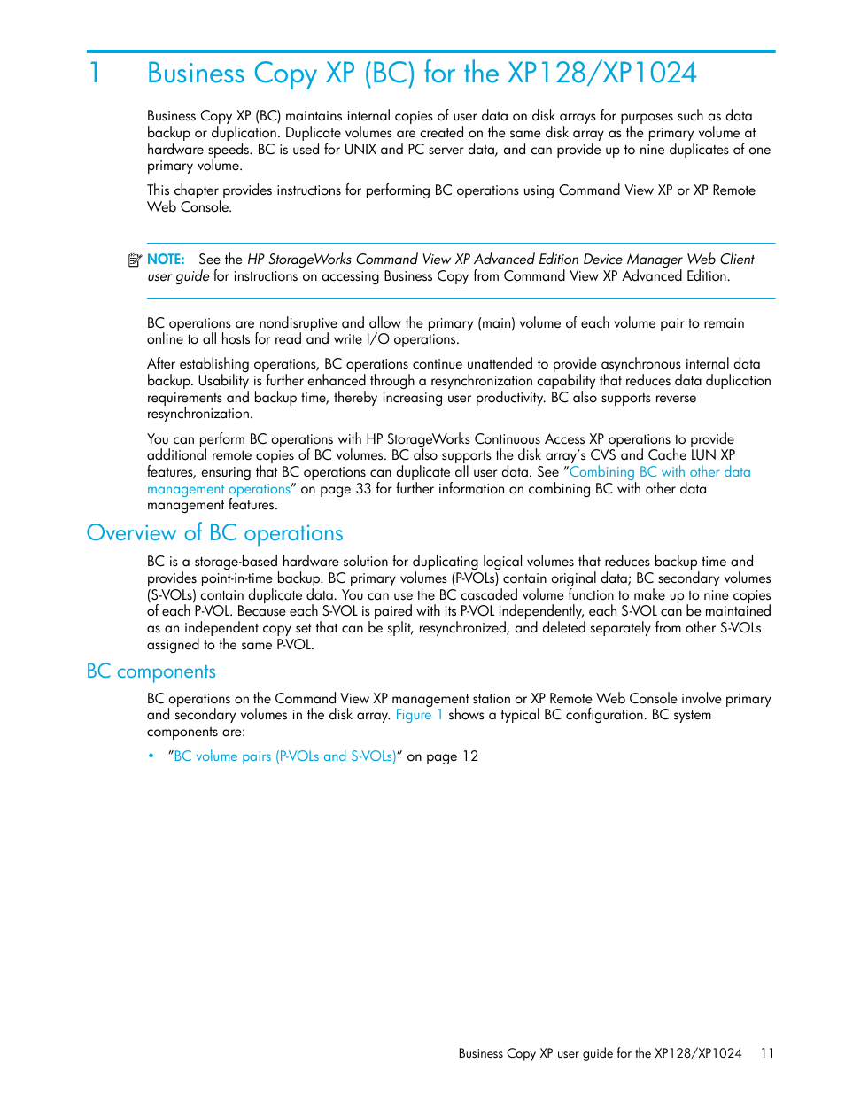 Business copy xp (bc) for the xp128/xp1024, Overview of bc operations