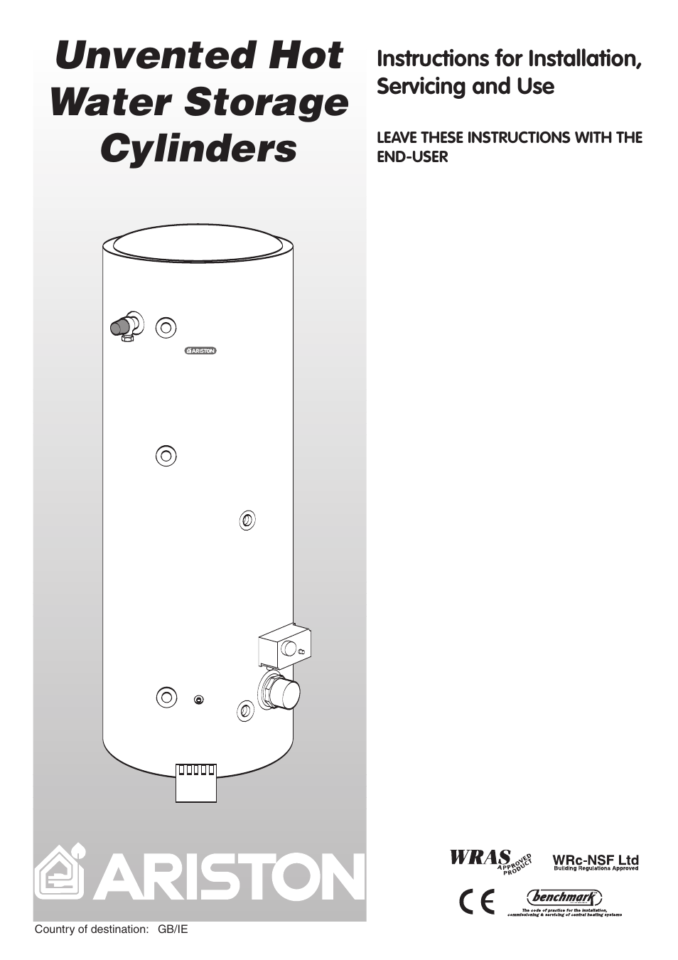 Ariston Unvented Hot Water Storage Cylinders User Manual   24 pages