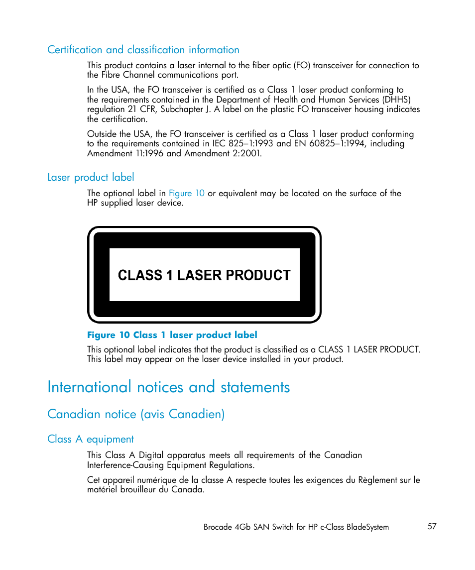 Certification And Classification Information Laser Product Label
