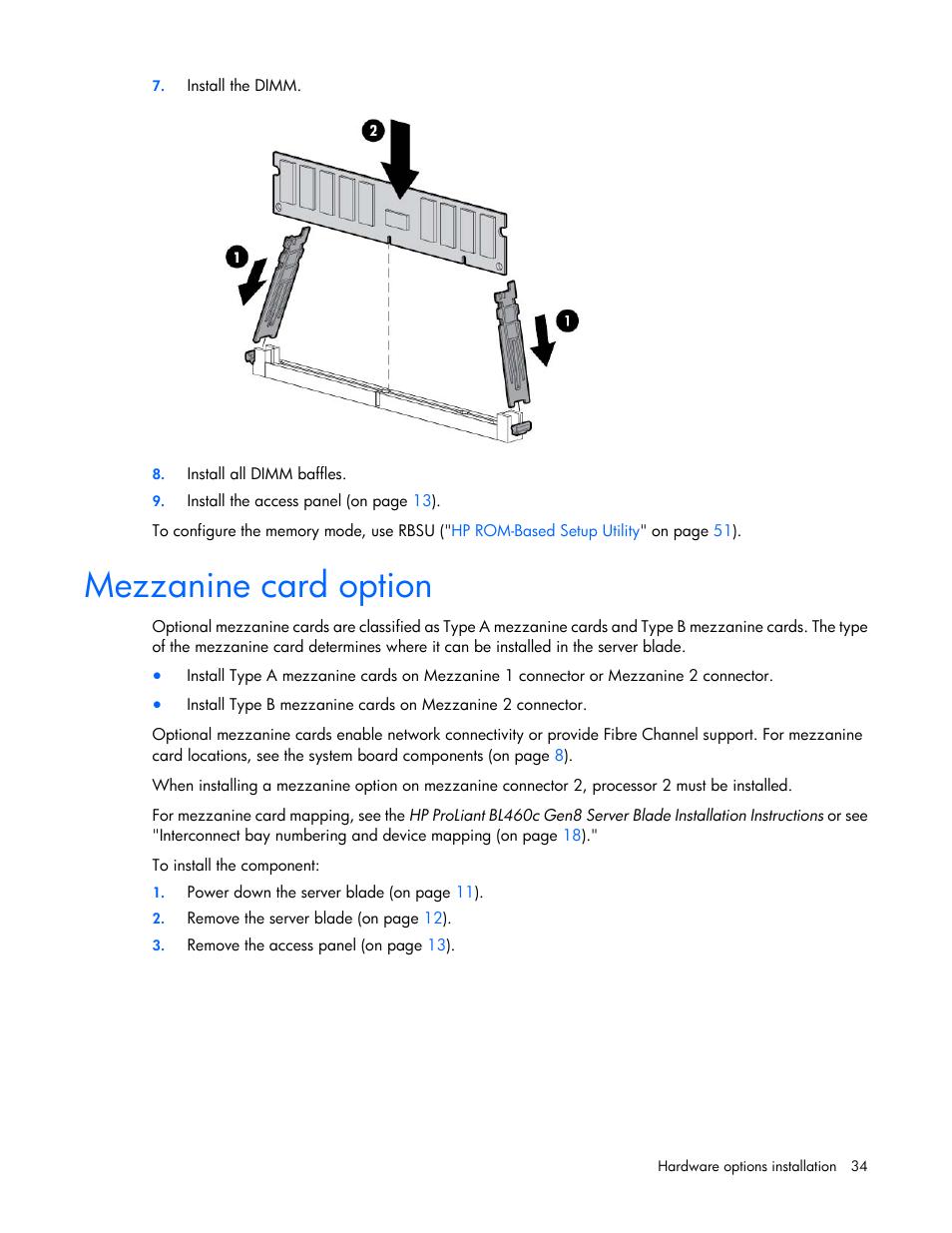 Mezzanine card option | hp proliant bl460c gen8 server blade user.