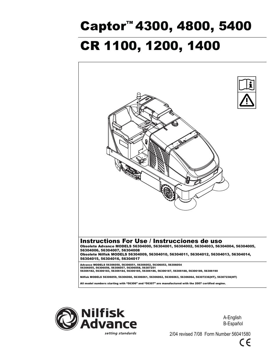 Advance captor 4300 4800 5400 accessories parts list manual | auto.