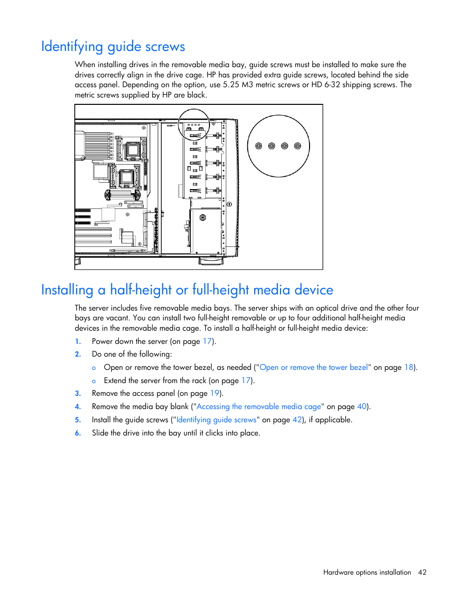 Identifying guide screws | HP ProLiant ML350 G5 Server User Manual | Page  42 / 118