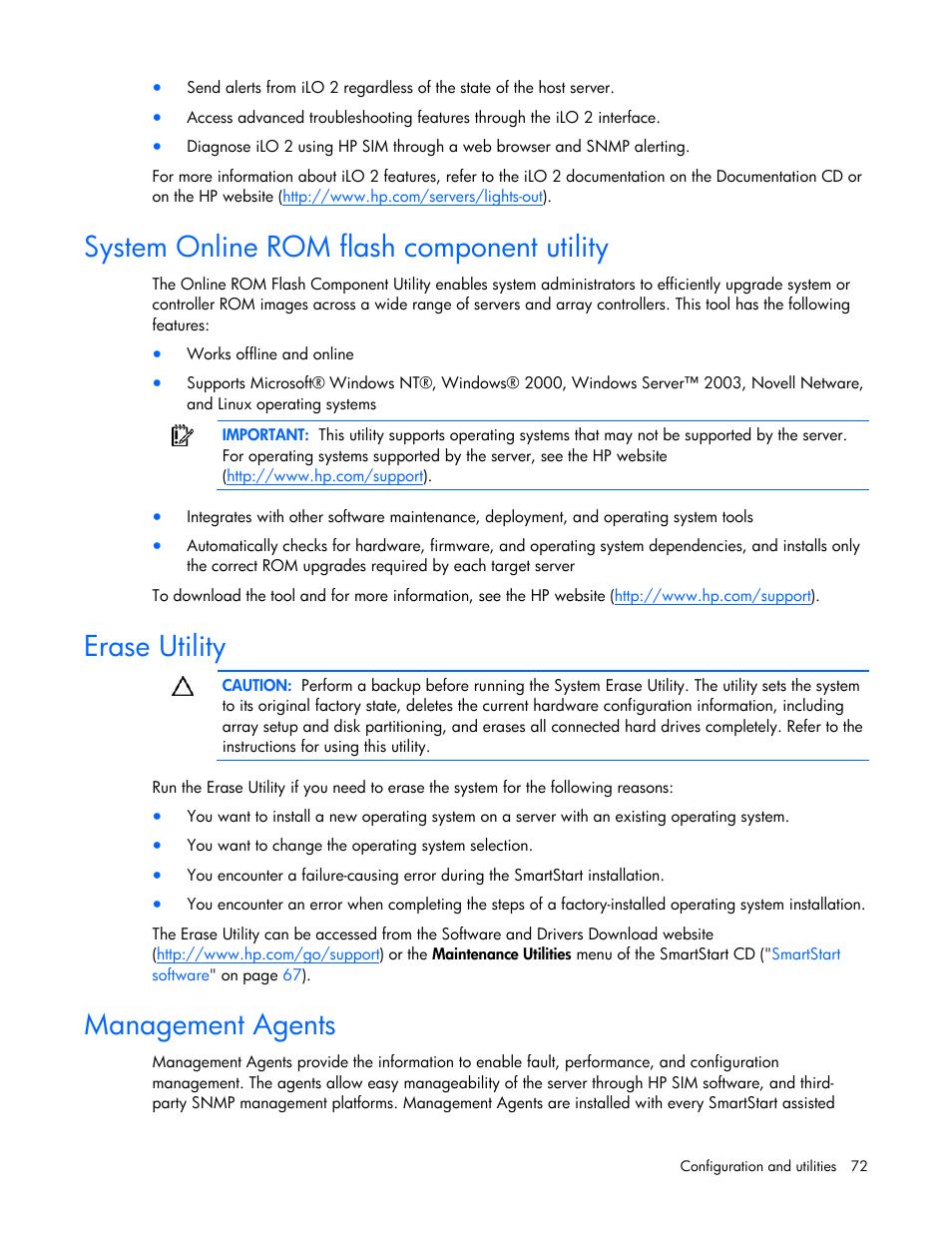 System online rom flash component utility, Erase utility, Management