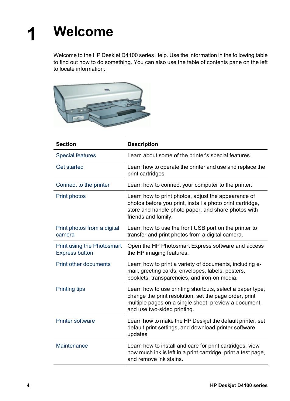 welcome hp deskjet d4160 printer user manual page 6 102 rh manualsdir com hp deskjet d4100 user manual hp deskjet d4100 user manual
