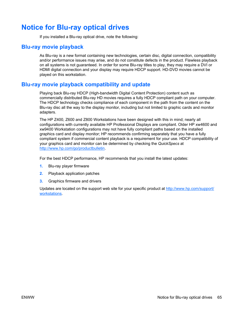 Notice for blu-ray optical drives, Blu-ray movie playback, Blu-ray