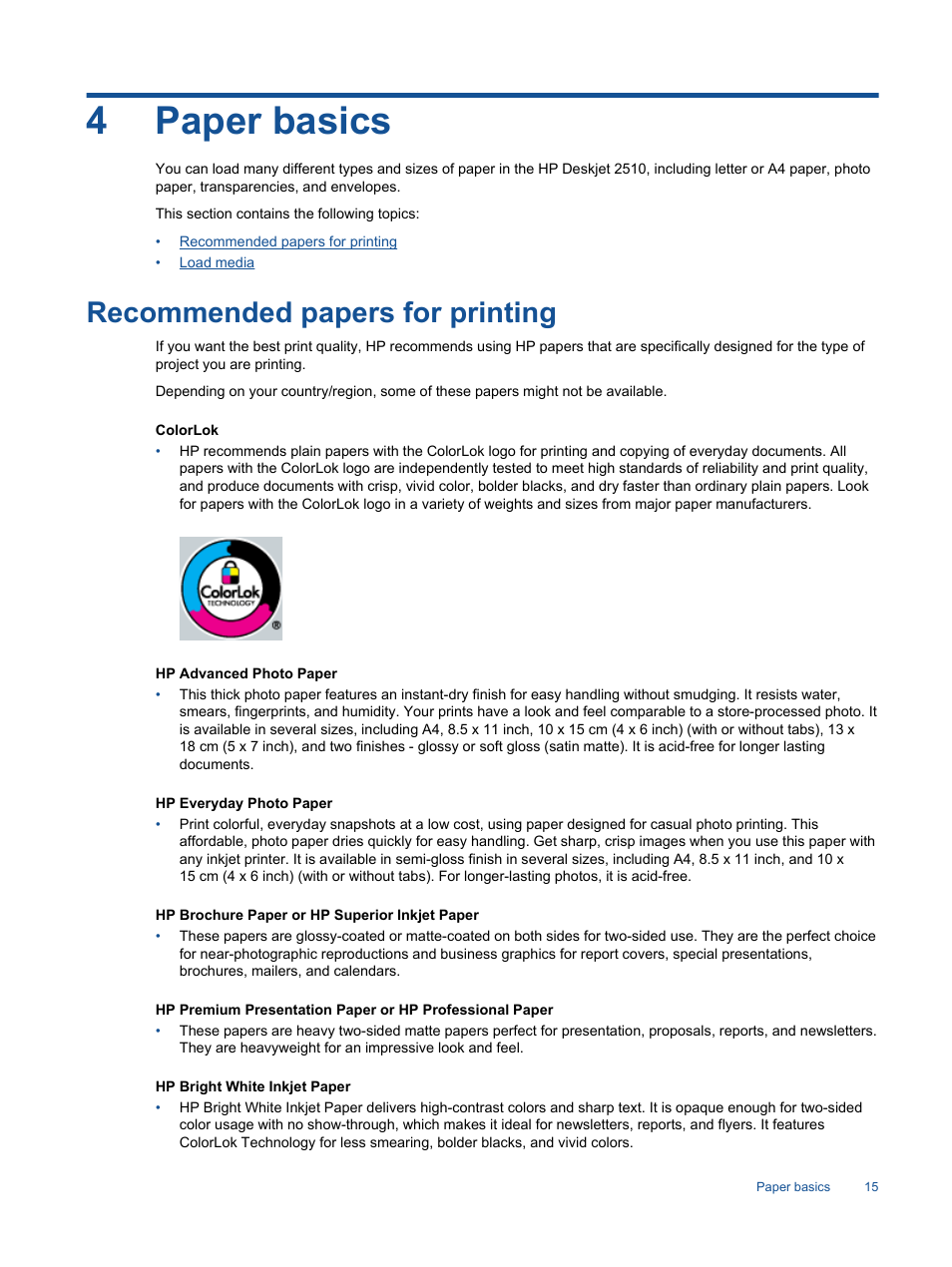 4paper basics, Recommended papers for printing | HP Deskjet 2514 All