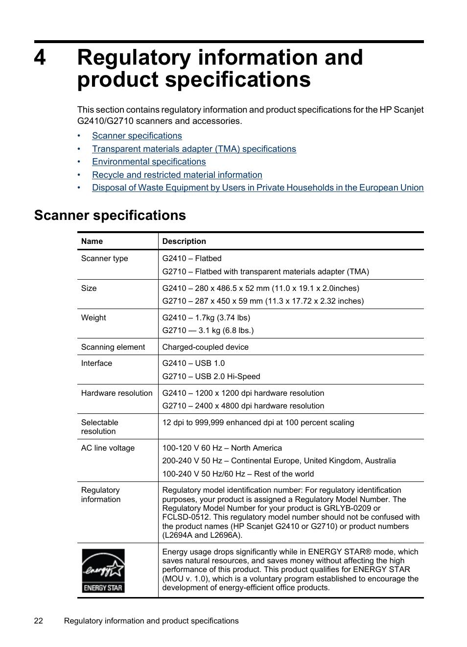 regulatory information and product specifications scanner rh manualsdir com