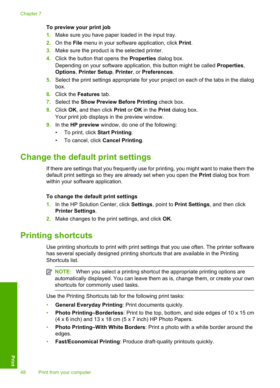 Change the default print settings, Printing shortcuts | HP