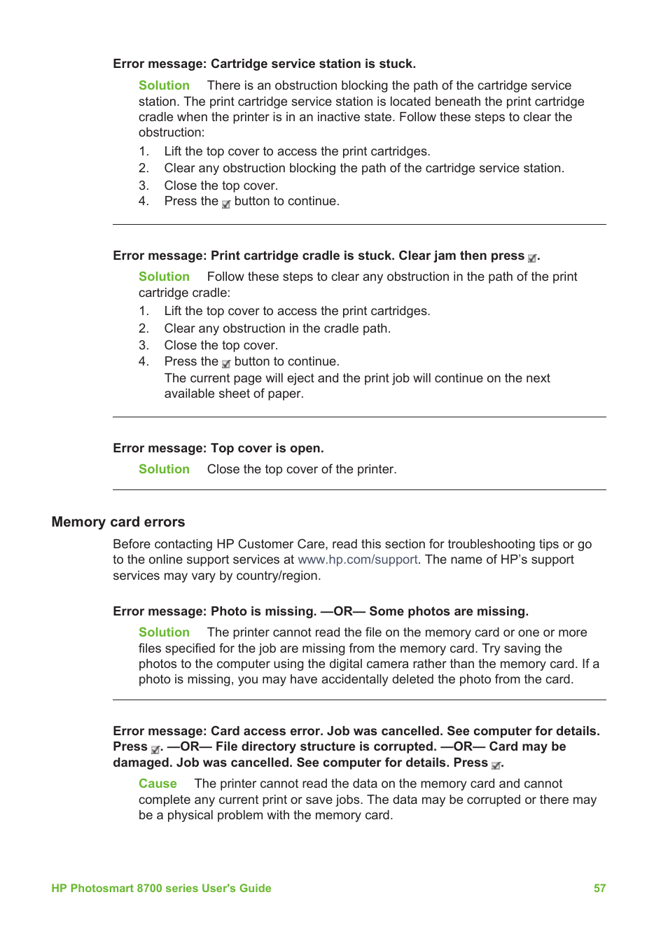 Memory card errors | HP Photosmart 8750 Professional Photo Printer User  Manual | Page 61 / 83