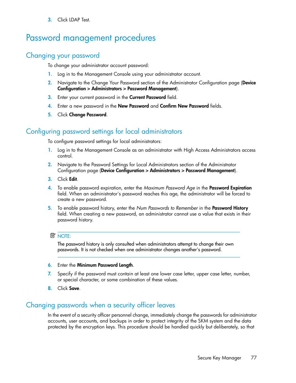 Password management procedures, Changing your password