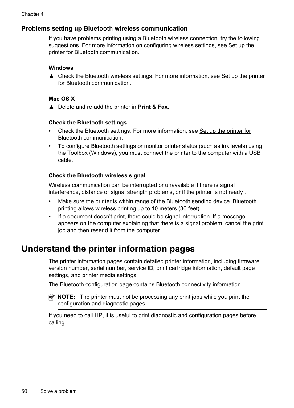 Check the bluetooth settings, Check the bluetooth wireless signal,  Understand the printer information pages