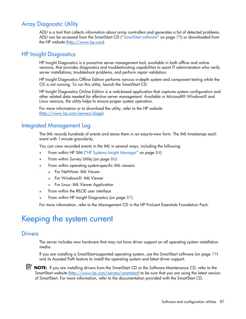 Array diagnostic utility, Hp insight diagnostics, Integrated
