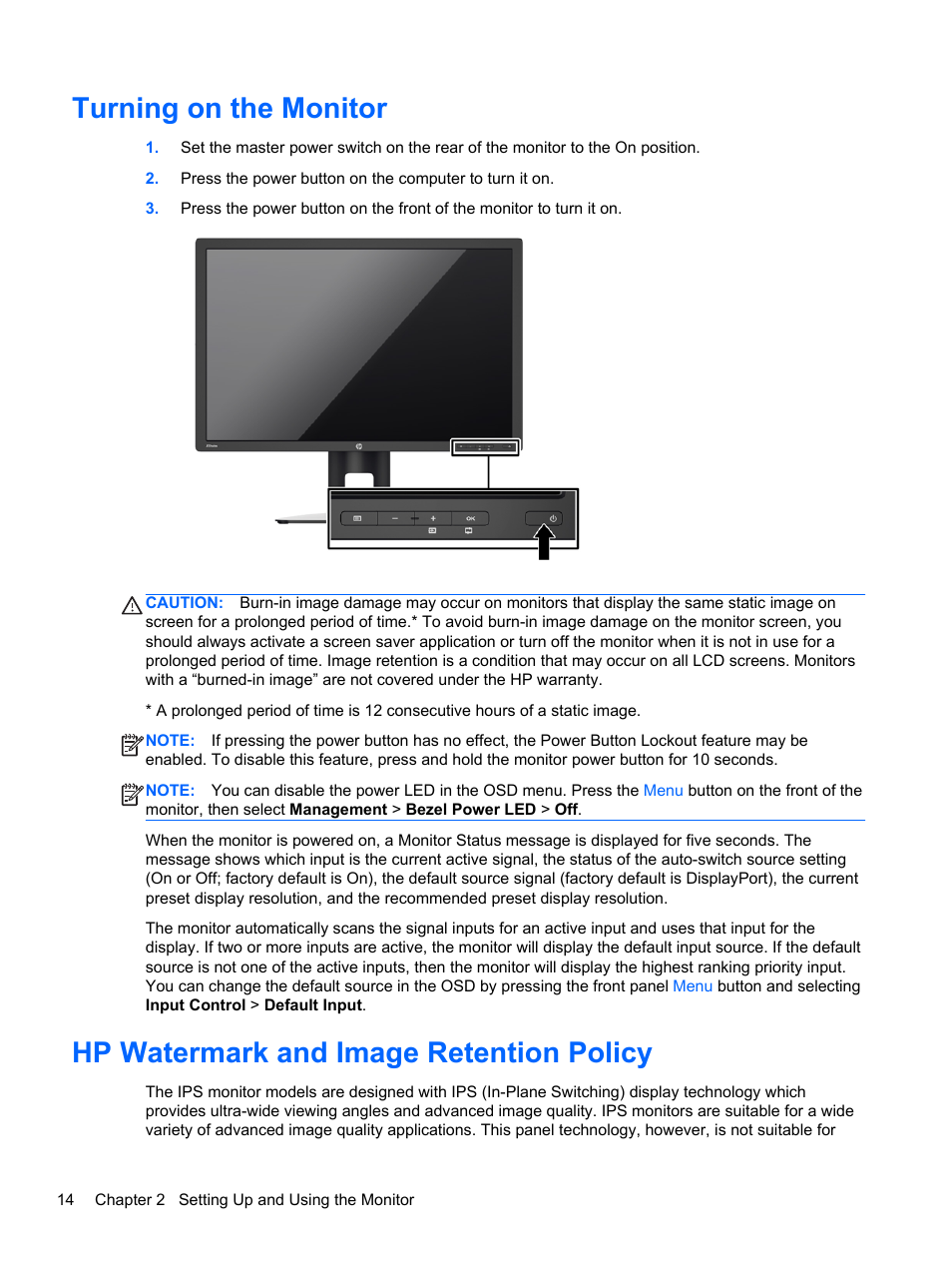 Turning on the monitor, Hp watermark and image retention