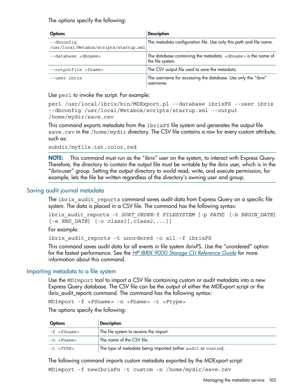 Saving audit journal metadata, Importing metadata to a file