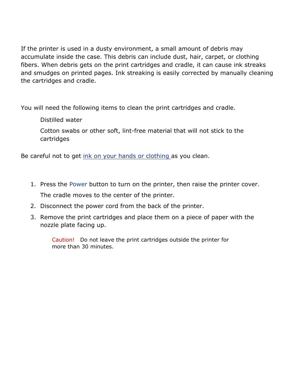 Manually cleaning print cartridges, Gathering cleaning