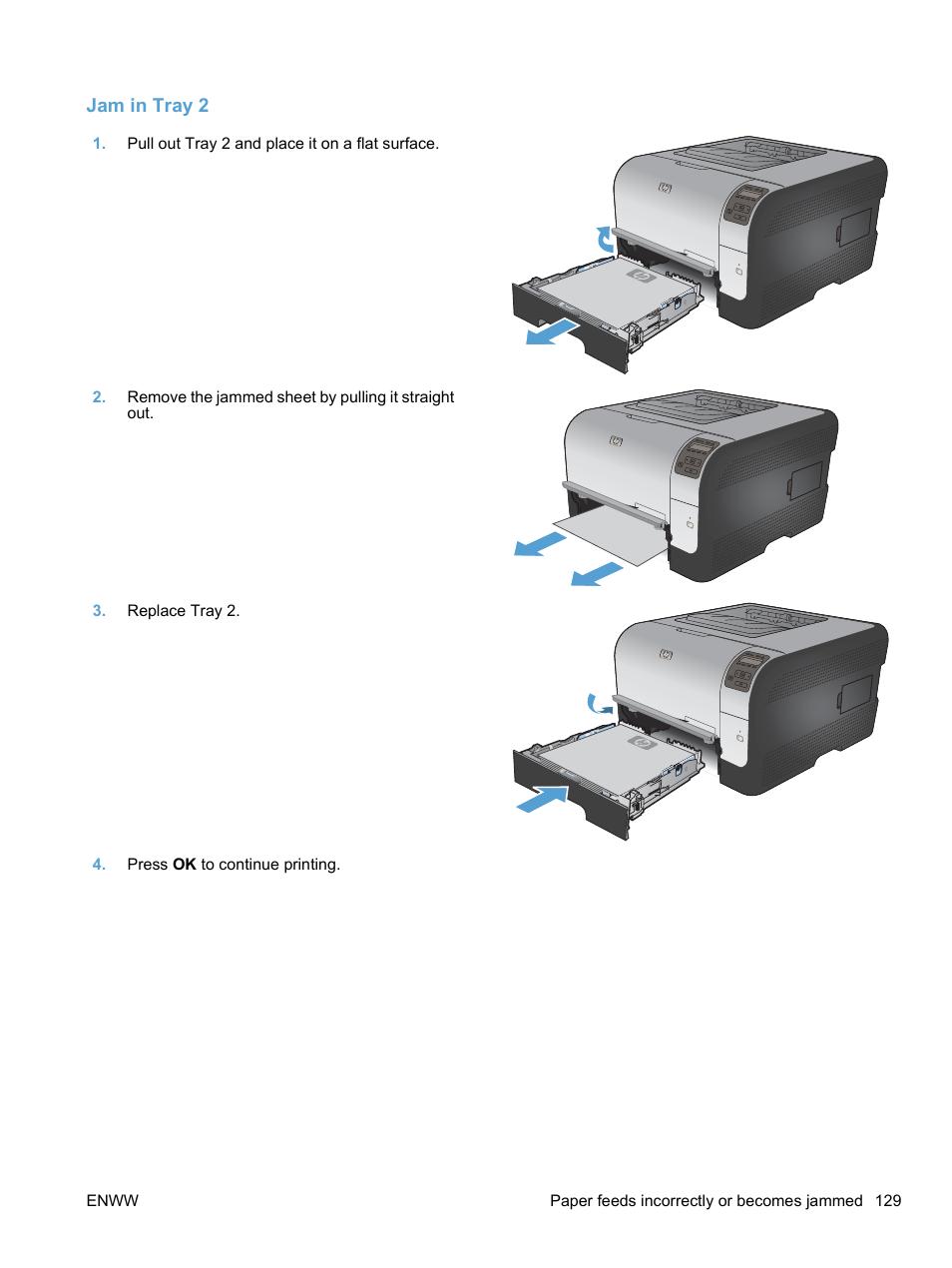 Jam in tray 2 | HP LaserJet Pro CP1525nw Color Printer User