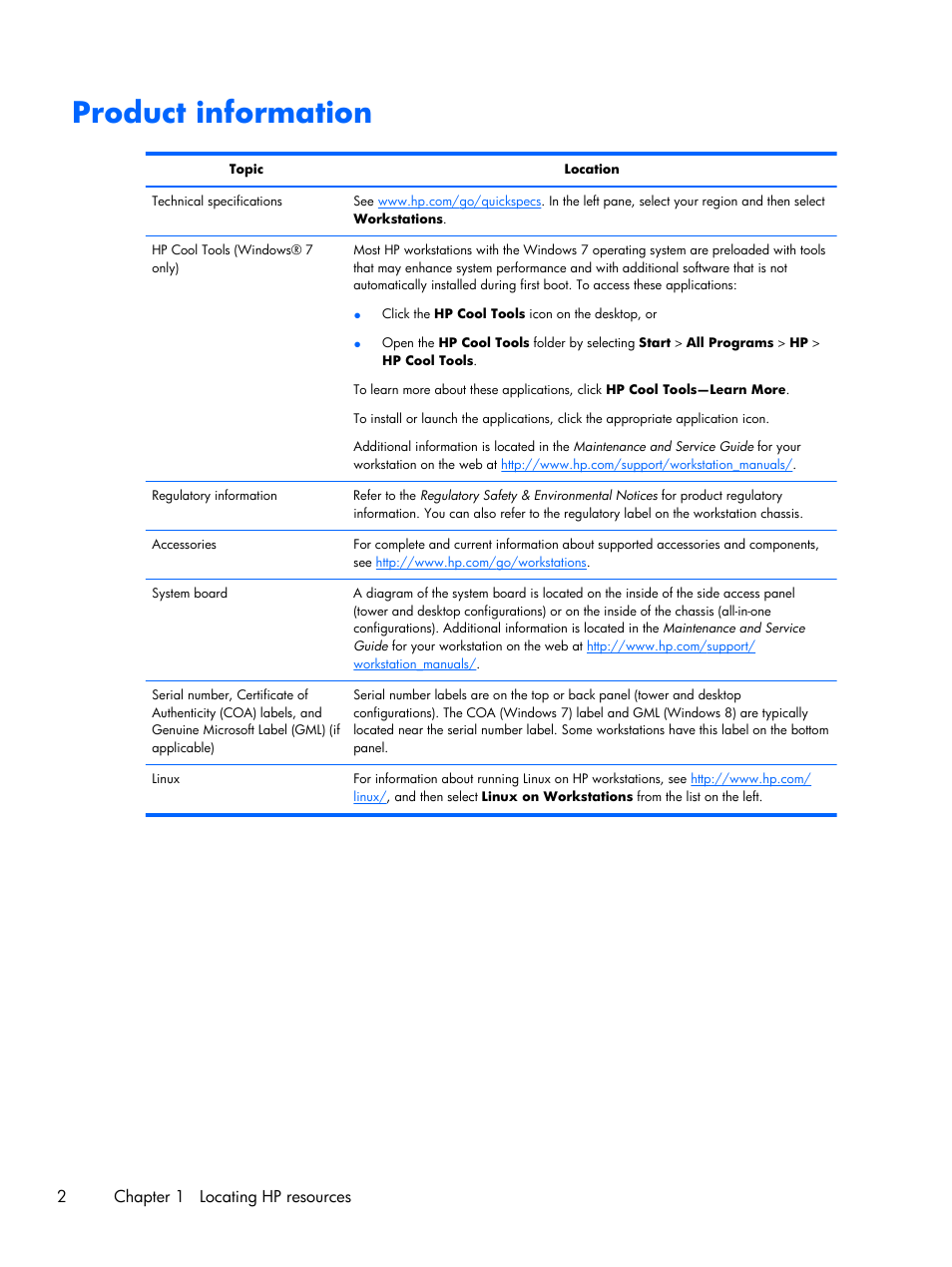 Product information   HP Z230 Tower-Workstation User Manual