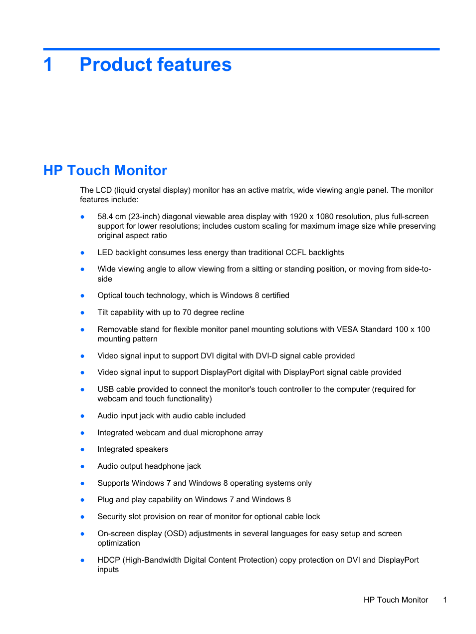 Product features, Hp touch monitor, 1 product features | HP