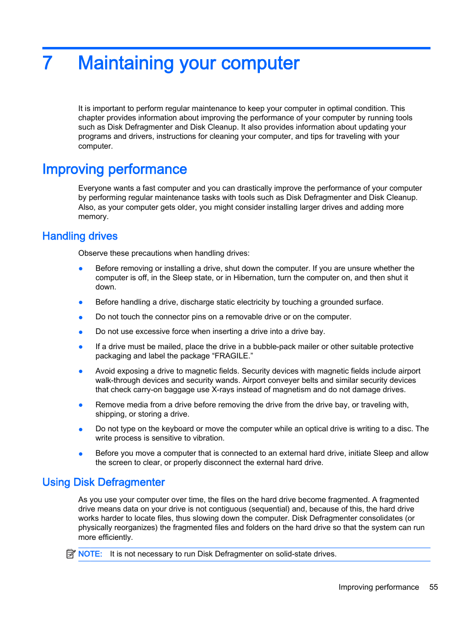 Maintaining your computer, Improving performance, Handling drives | HP  Pavilion 13-r010dx x2 Detachable PC User Manual | Page 65 / 84