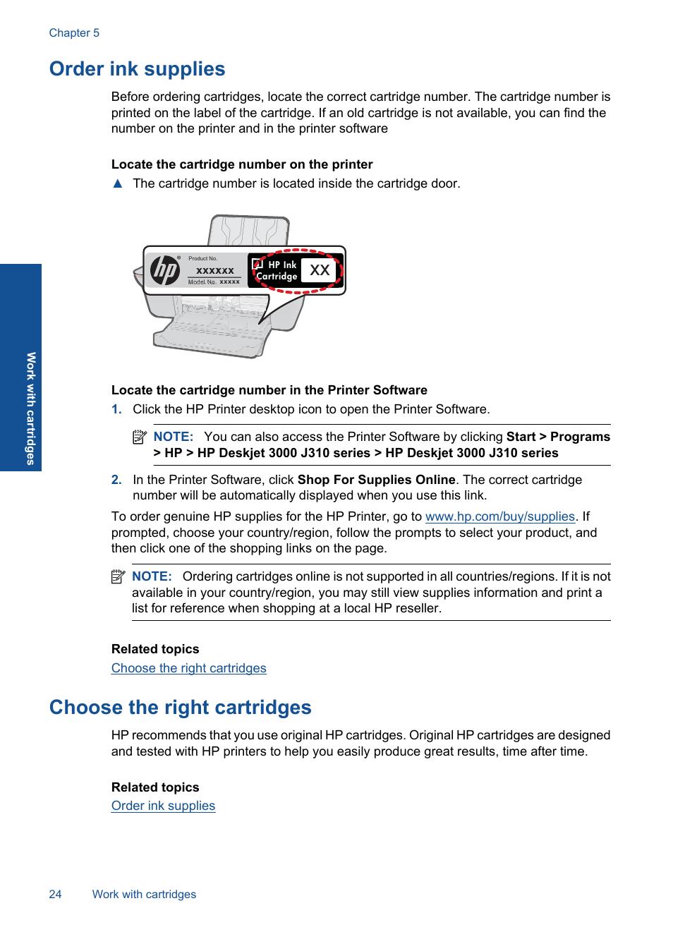 Order ink supplies, Choose the right cartridges | HP Deskjet 3000