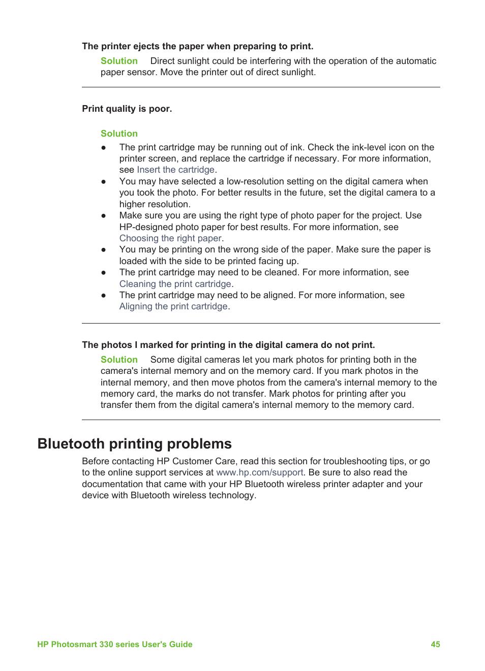 Bluetooth printing problems | HP Photosmart 335 Compact