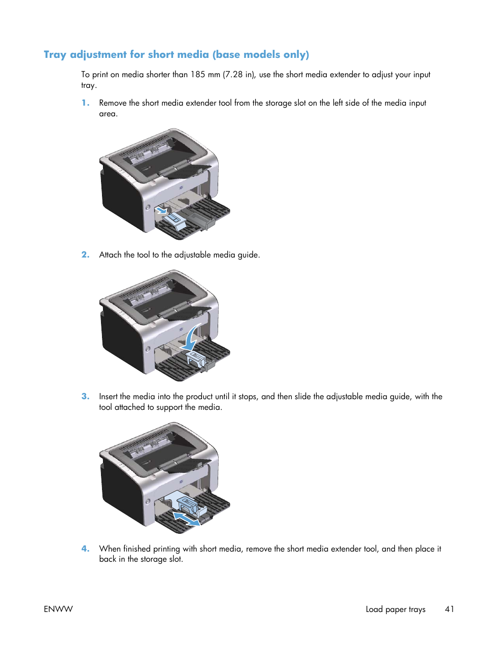 tray adjustment for short media base models only hp laserjet pro rh manualsdir com hp laserjet p1102w manual hp laserjet p1102 manual