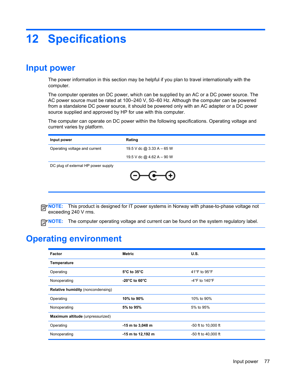 Specifications, Input power, Operating environment | HP