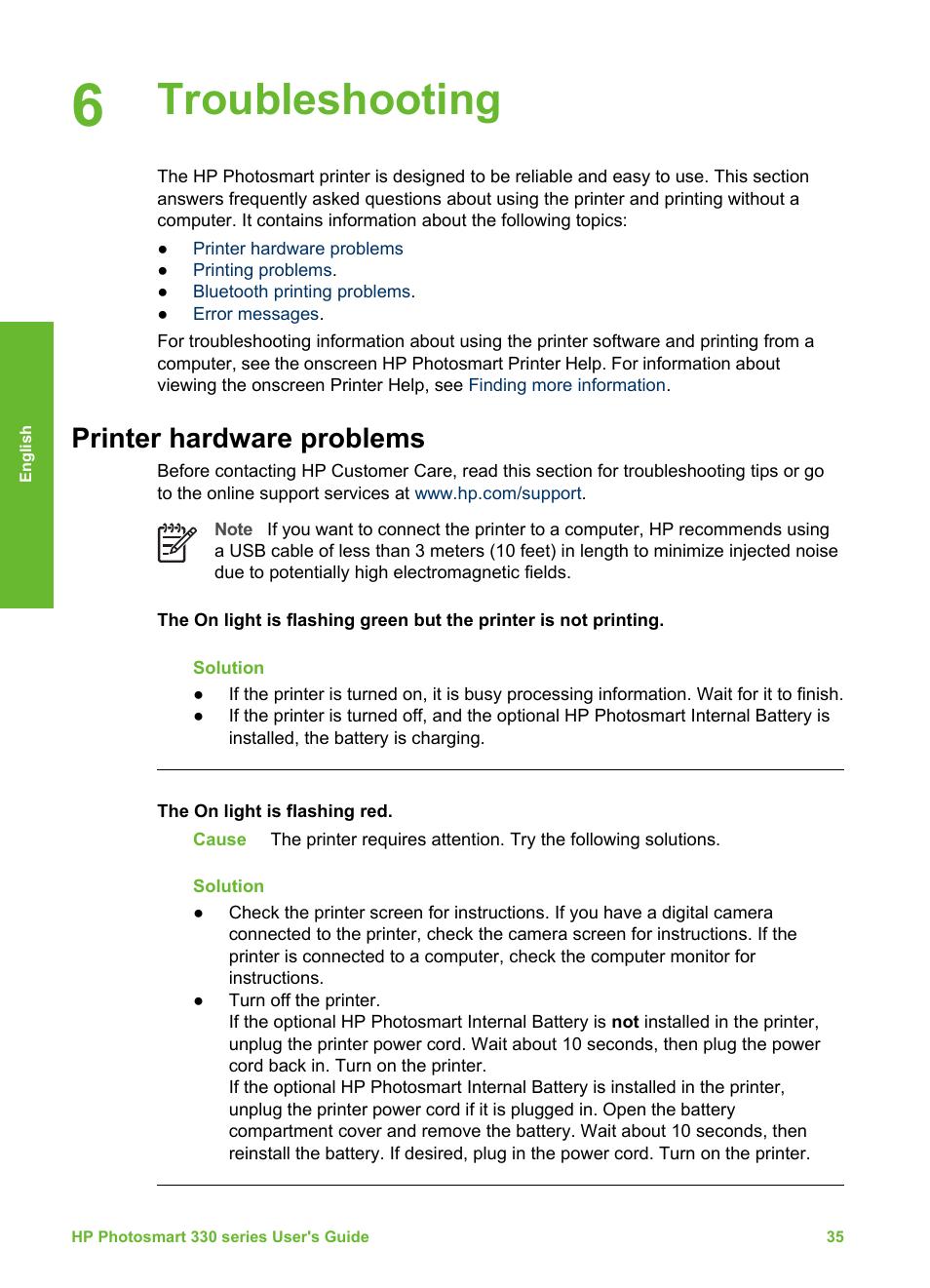 Troubleshooting, Printer hardware problems | HP Photosmart 335