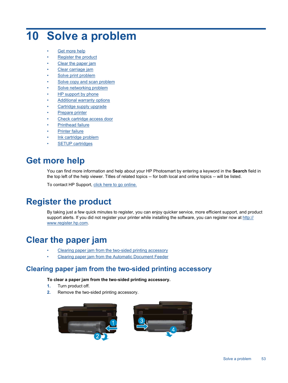 Solve a problem, Get more help, Register the product   HP