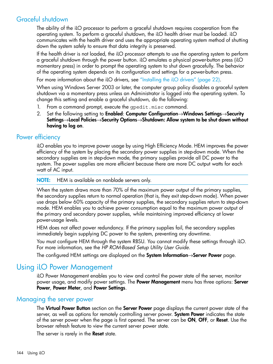 Graceful shutdown, Power efficiency, Using ilo power management   HP