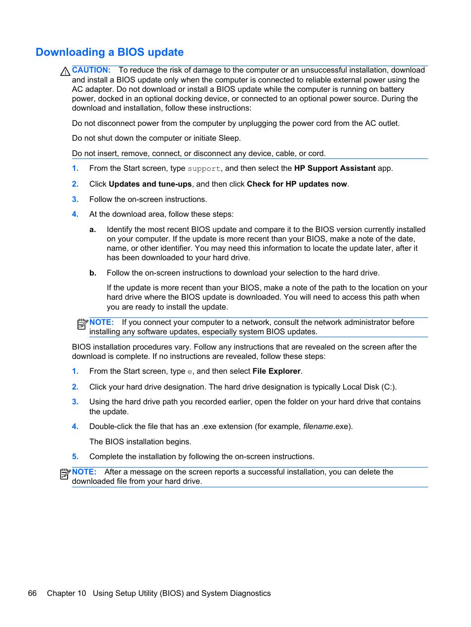 Downloading a bios update | HP Pavilion 15-e043cl Notebook