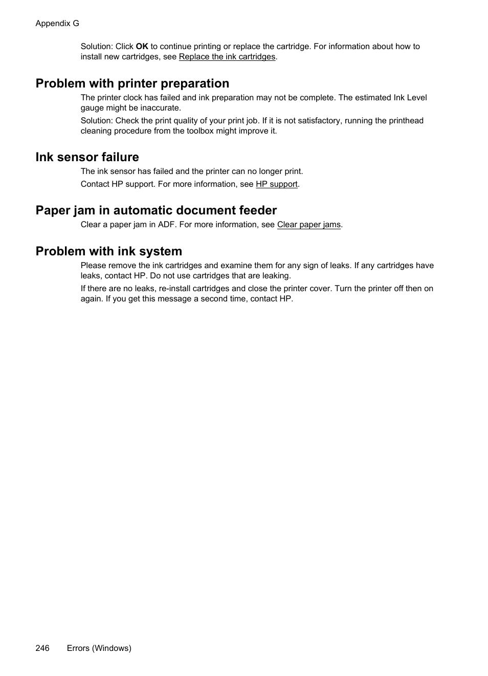 Problem with printer preparation, Ink sensor failure, Paper