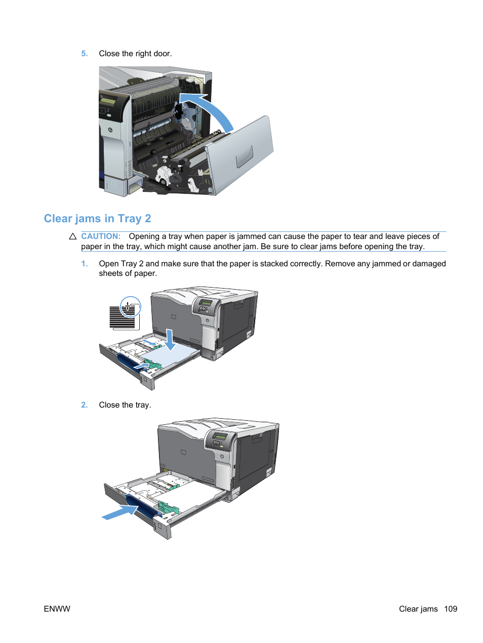 Clear jams in tray 2 | HP Color LaserJet Professional CP5225