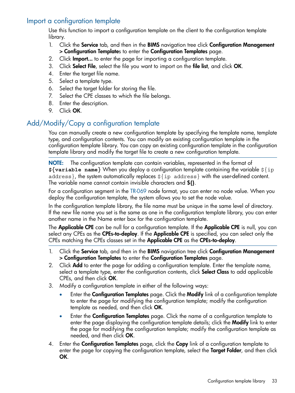 Import a configuration template, Add/modify/copy a configuration ...