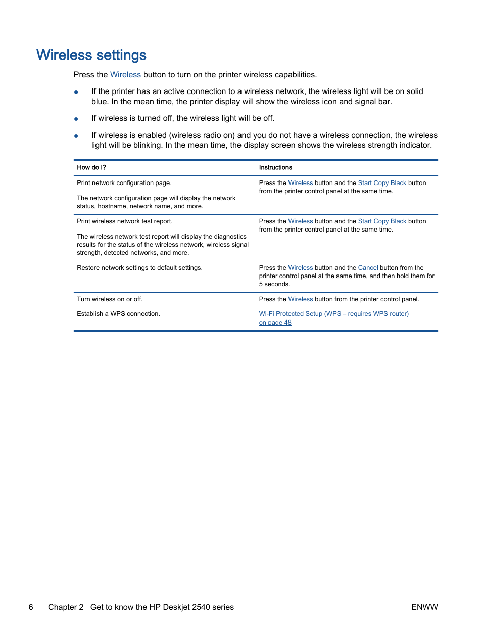 Wireless settings | HP Deskjet 2540 All-in-One Printer User