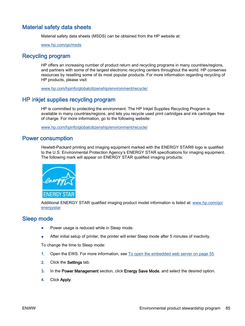 Material safety data sheets, Recycling program, Hp inkjet