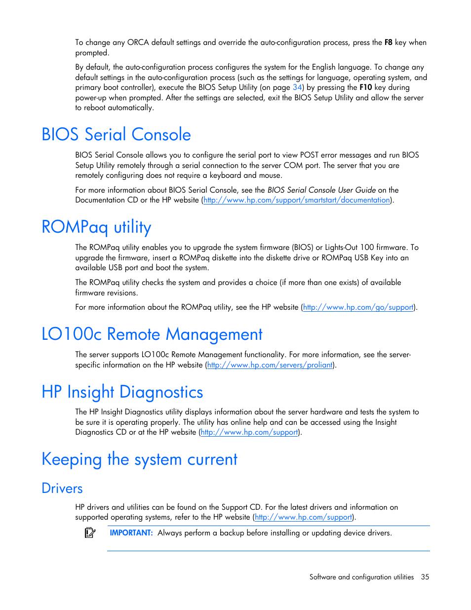 Bios serial console, Rompaq utility, Lo100c remote