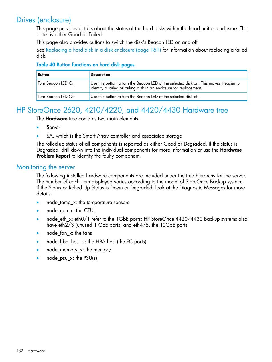 Drives (enclosure), Monitoring the server | HP StoreOnce Backup User Manual  | Page 132 / 204