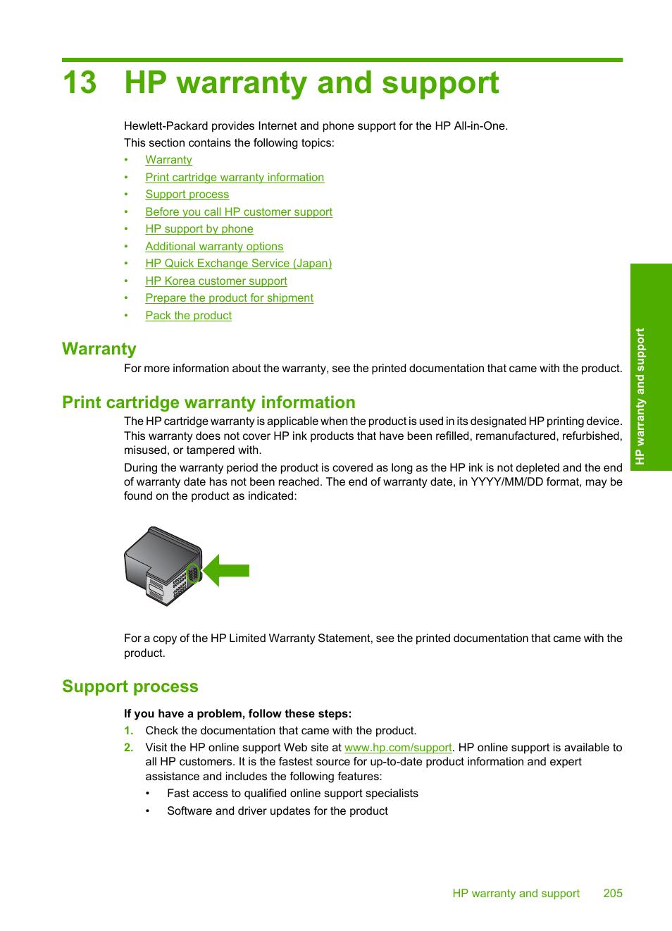 Hp warranty and support, Warranty, Print cartridge warranty information |  Support process, 13