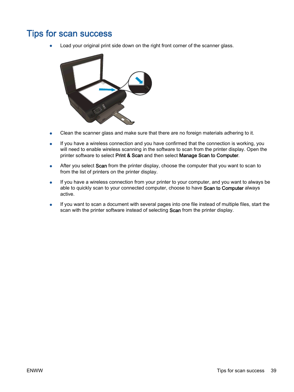 Tips for scan success | HP ENVY 4501 e-All-in-One Printer User