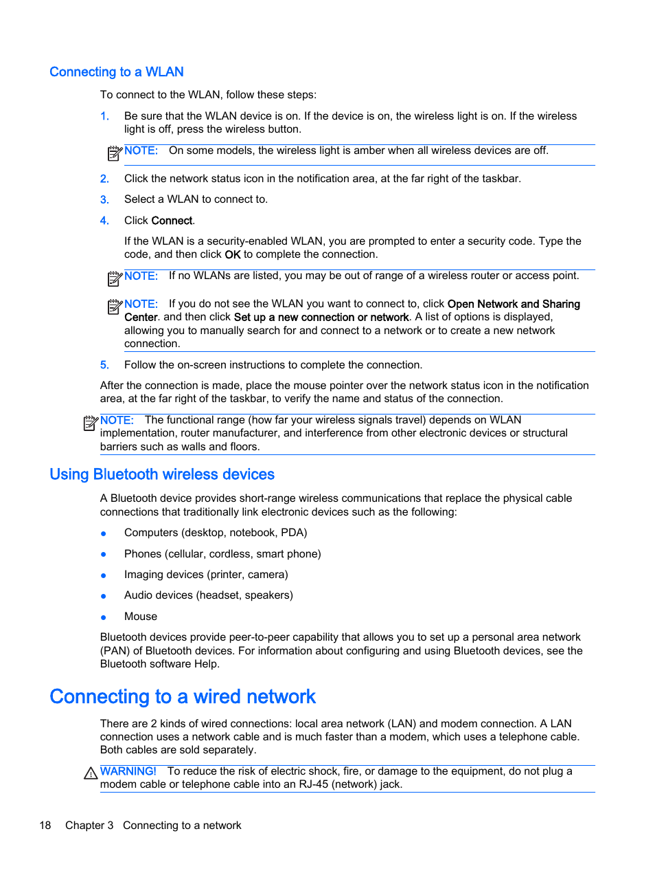 Connecting to a wlan, Using bluetooth wireless devices, Connecting