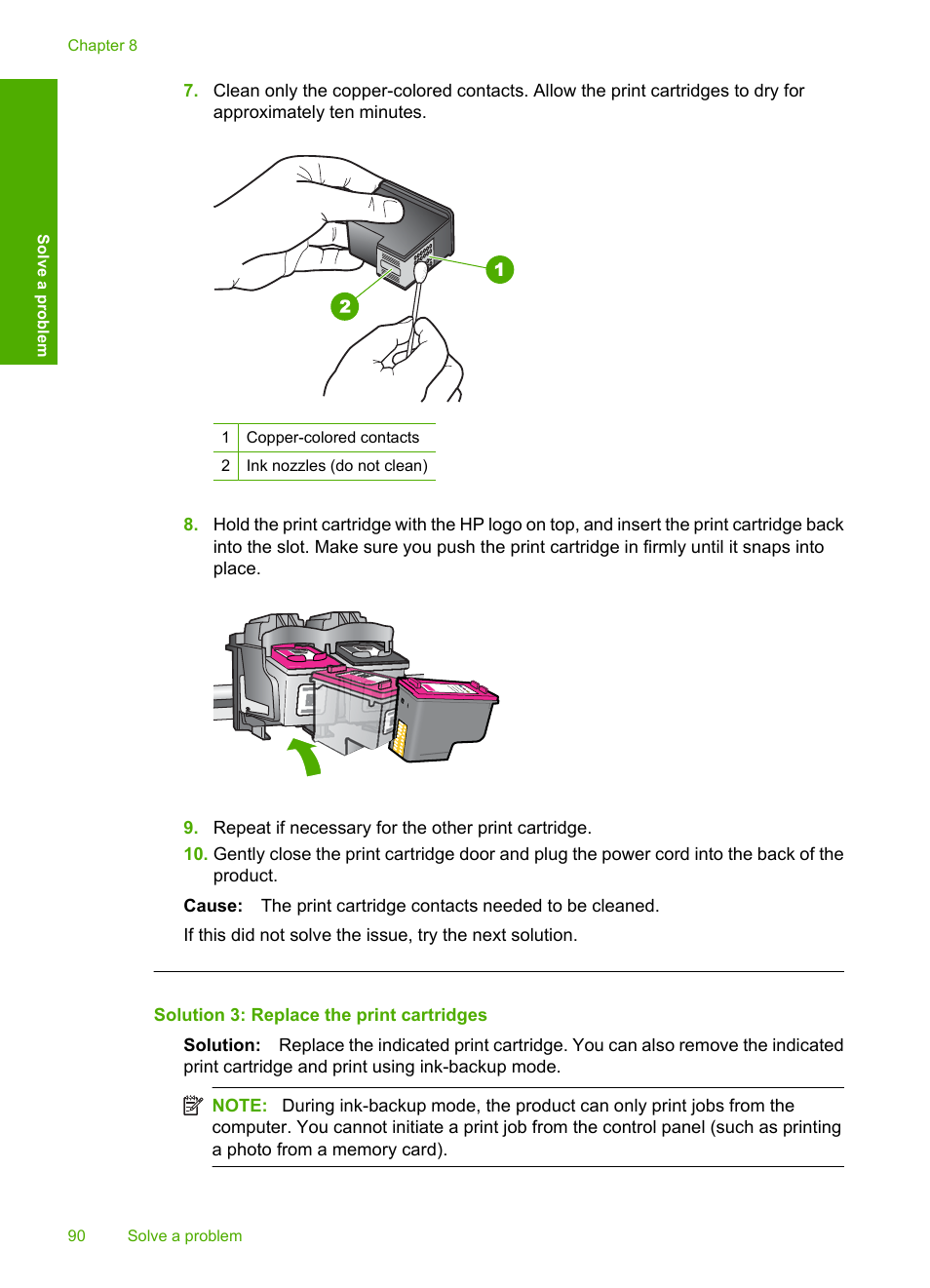 Solution 3: replace the print cartridges | HP Deskjet F4480 User Manual |  Page 93