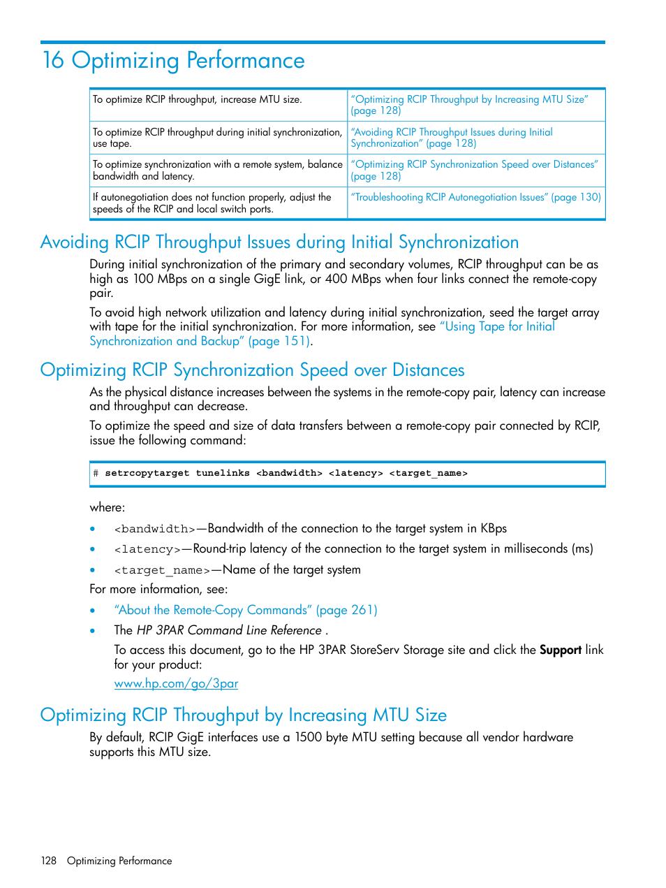16 optimizing performance, Optimizing rcip throughput by