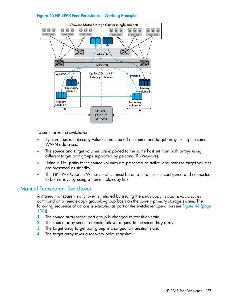 Manual transparent switchover, Hp 3par peer persistence